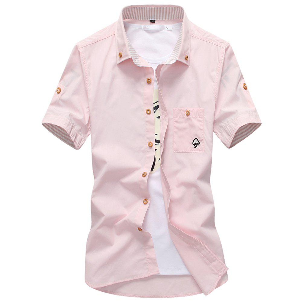 2018 New Men's Short Sleeve Slim Fashion Embroidered Mushroom Short Sleeve Shirt - PINK L