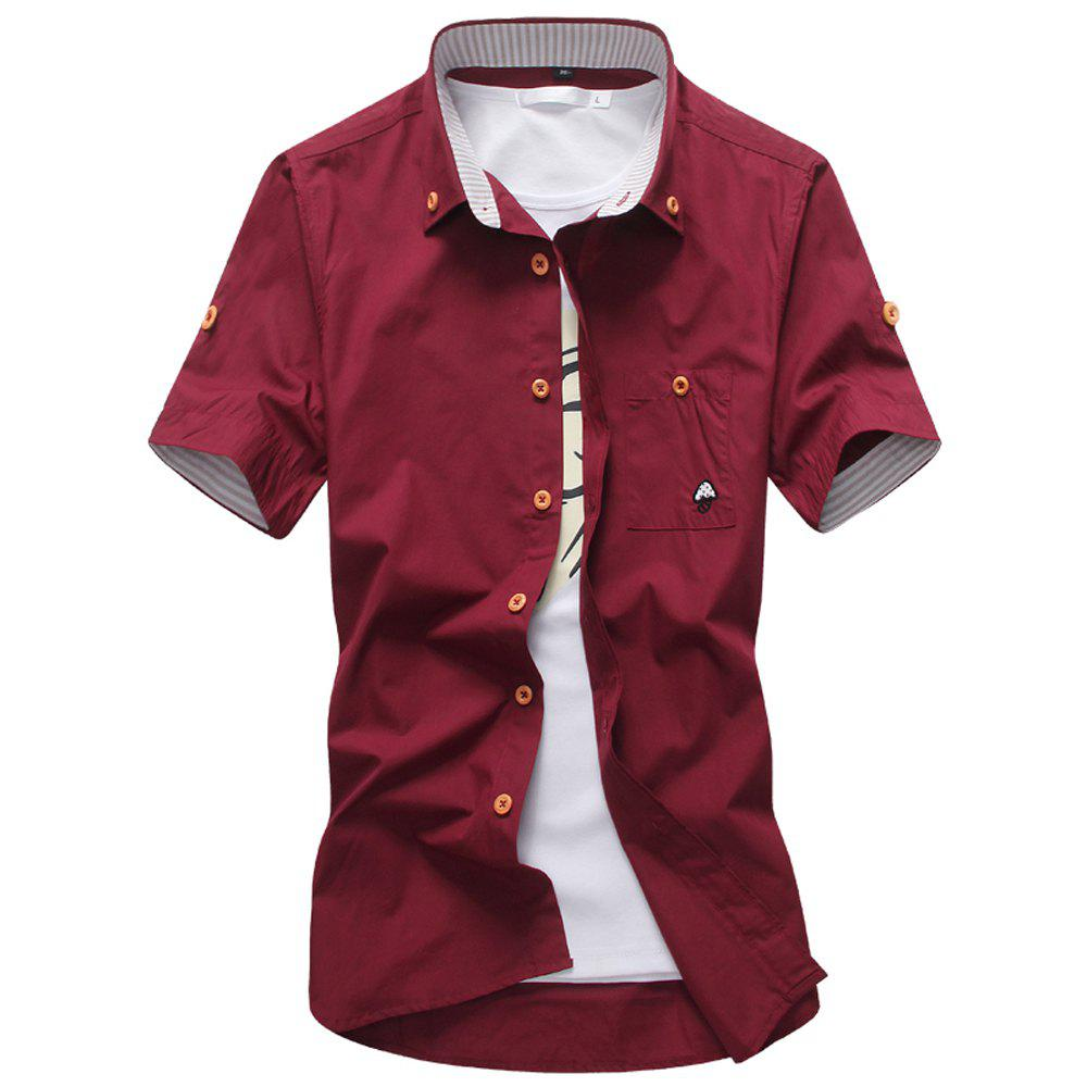 2018 New Men's Short Sleeve Slim Fashion Embroidered Mushroom Short Sleeve Shirt - RED WINE M