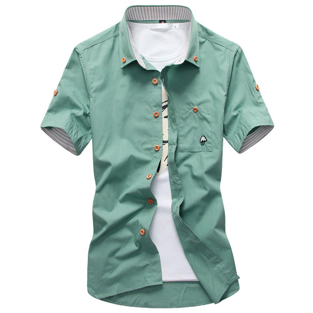 2018 New Men's Short Sleeve Slim Fashion Embroidered Mushroom Short Sleeve Shirt - BLUE GREEN 2XL