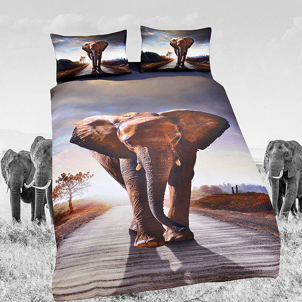 Elephant Bedding Set Animal  Duvet Cover Sets Digital Print 3pcs - multicolor KING