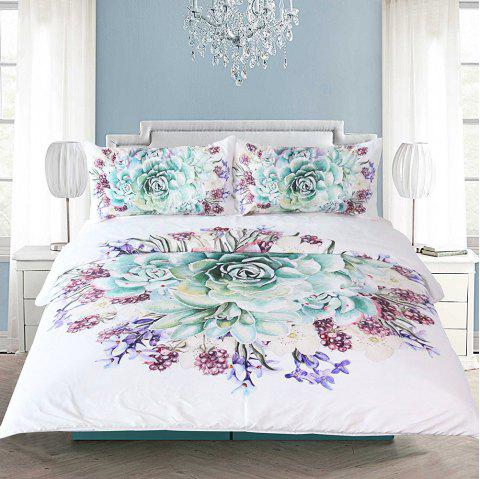 Green Succulents Bedding  Duvet Cover Set Digital Print 3pcs - multicolor QUEEN