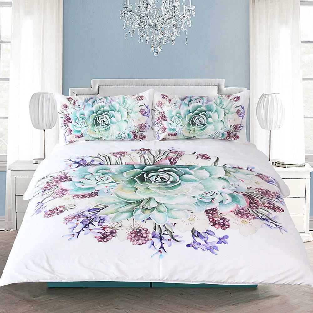 Green Succulents Bedding  Duvet Cover Set Digital Print 3pcs - multicolor FULL