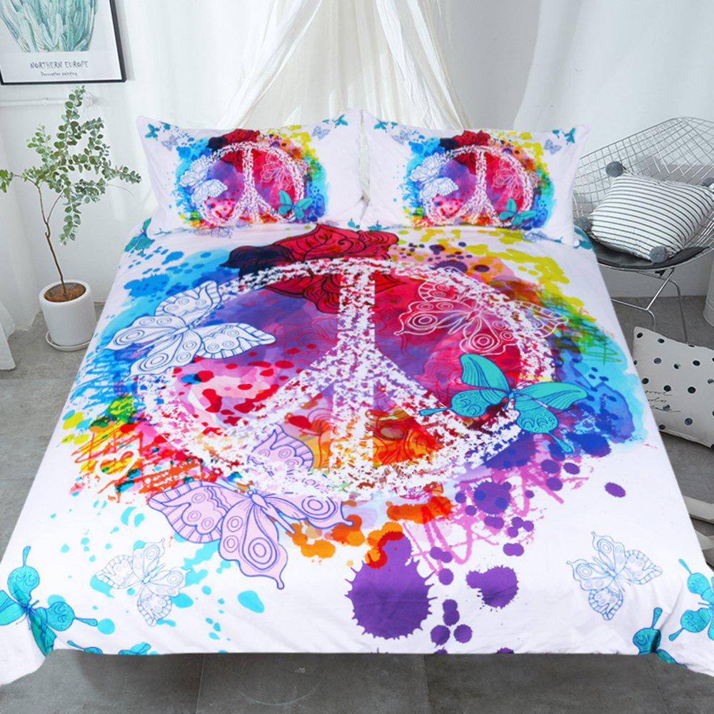 Butterfly  Bedding Duvet Cover Set Digital Print 3pcs - multicolor TWIN