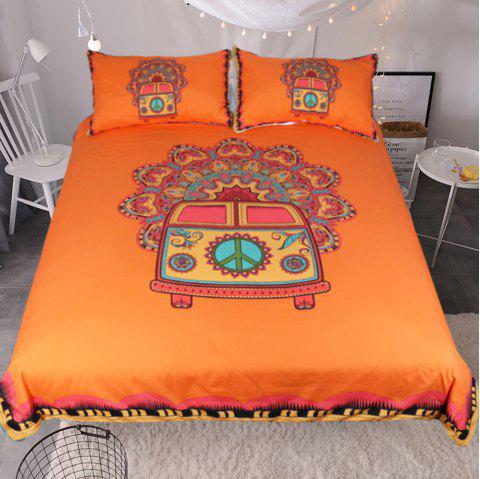 Hippie Vintage Car Bedding Duvet Cover Set Digital Print 3pcs - multicolor QUEEN