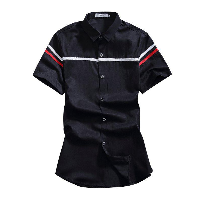 Thin Section Stitching Short-sleeved Men's Shirt
