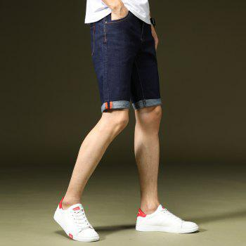 Summer Fashion Casual Men's Denim Shorts - DENIM DARK BLUE 36