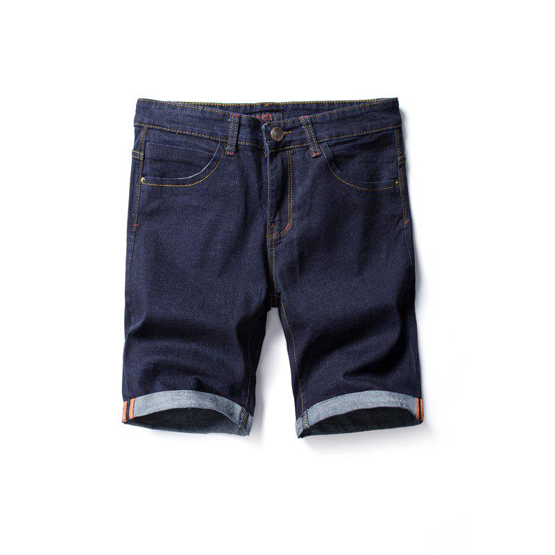 Summer Fashion Casual Men's Denim Shorts - DENIM DARK BLUE 28