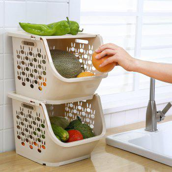 Household Stackable Storage Baskets - ANTIQUE WHITE