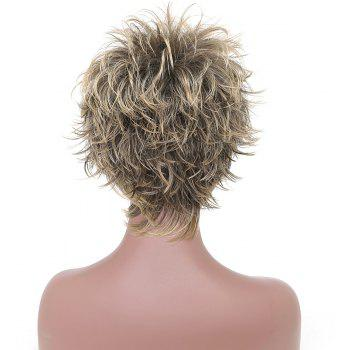 Fashion Short Cut Wavy Black Blonde Highlights Synthetic Hair Wigs for Girls - BLONDE 8INCH