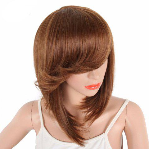 Short Bob Brown Natural Straight Synthetic Wigs For Women Side Bang - BROWN 14INCH