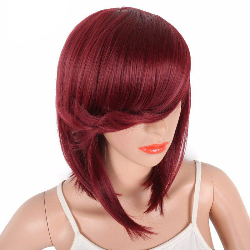Short Bob Brown Natural Straight Synthetic Wigs For Women Side Bang - CRANBERRY 14INCH