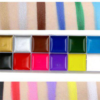 12 Colors Oil Paint Greasepaints Play for World Cup Clown Halloween Face Makeup - multicolor A