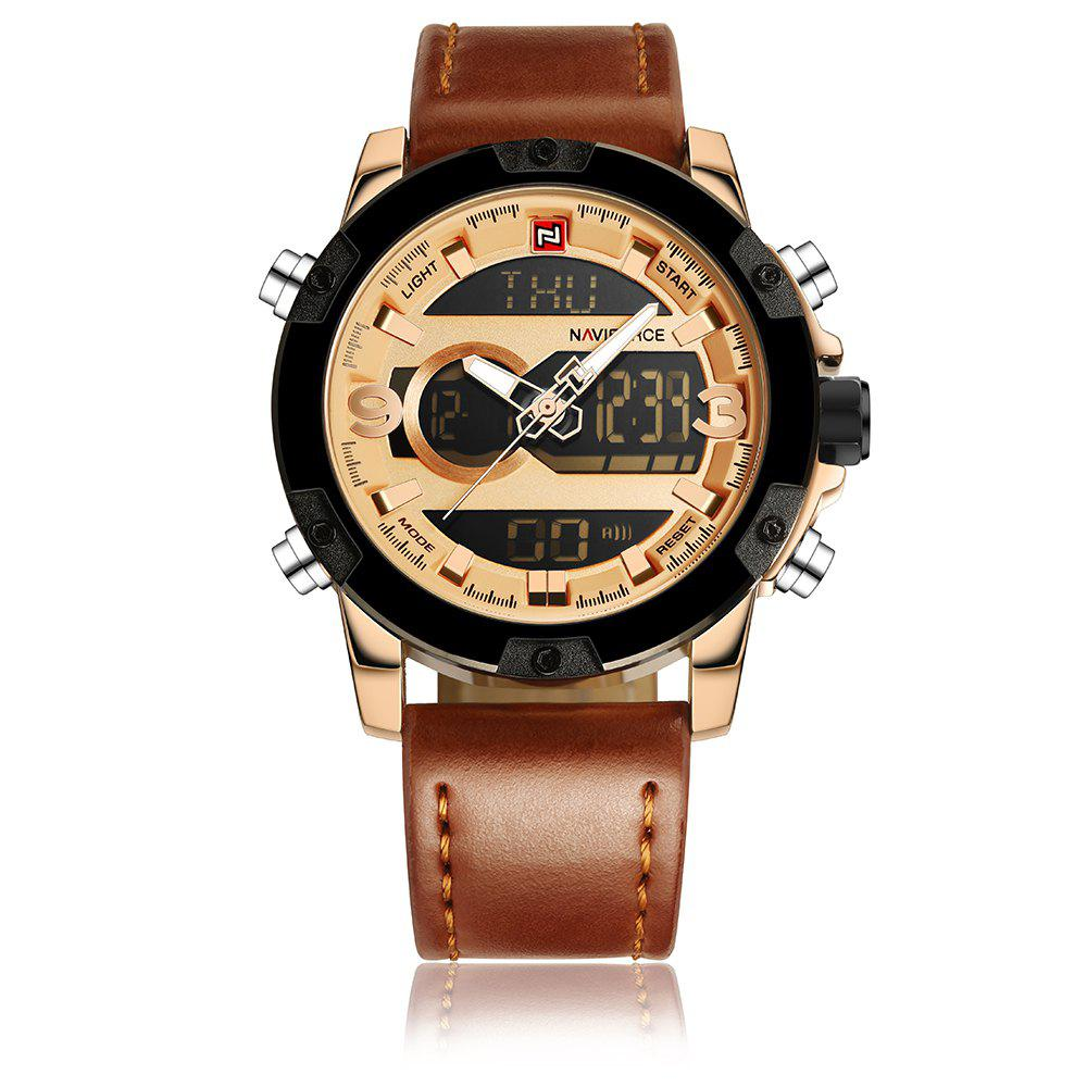 Naviforce9097Men's Dual Display Luminous Multifunctional Waterproof Sports Watch - BROWN