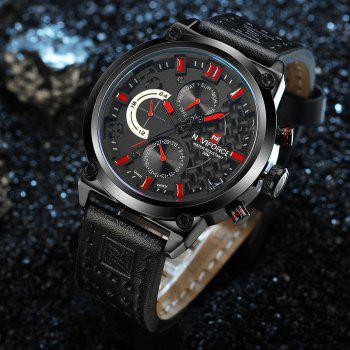 Naviforce Luxury Leather Band Men Sports Wristwatch - RED