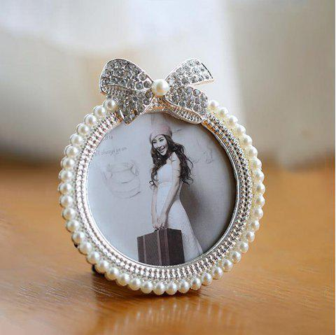 Creative Pearl Bow Cute Set Picture Frame - WHITE 7 INCHES