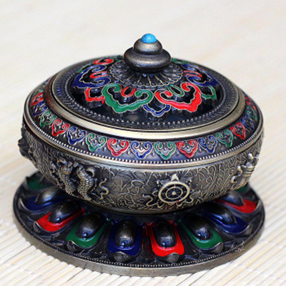 Color Relief Enamel Painted Copper Alloy Antique Incense Burner - GRAYISH TURQUOISE