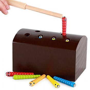 Creative Design Magnetic Wooden Puzzle Game Catch the Worm - BROWN