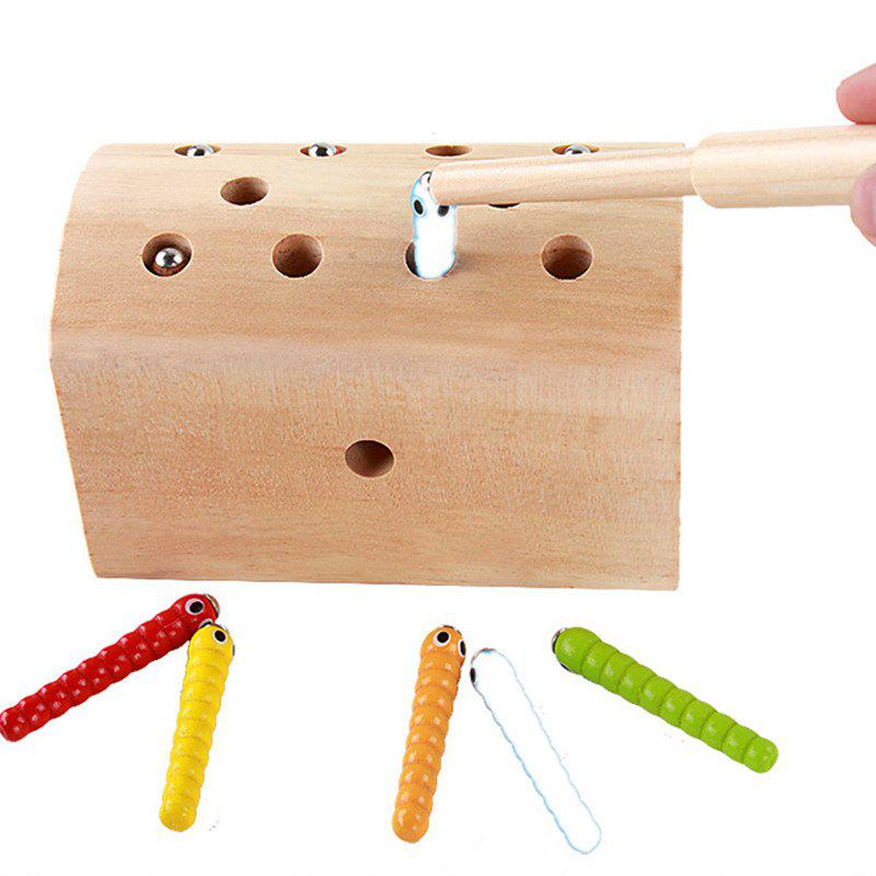 Creative Design Magnetic Wooden Puzzle Game Catch the Worm - WHITE