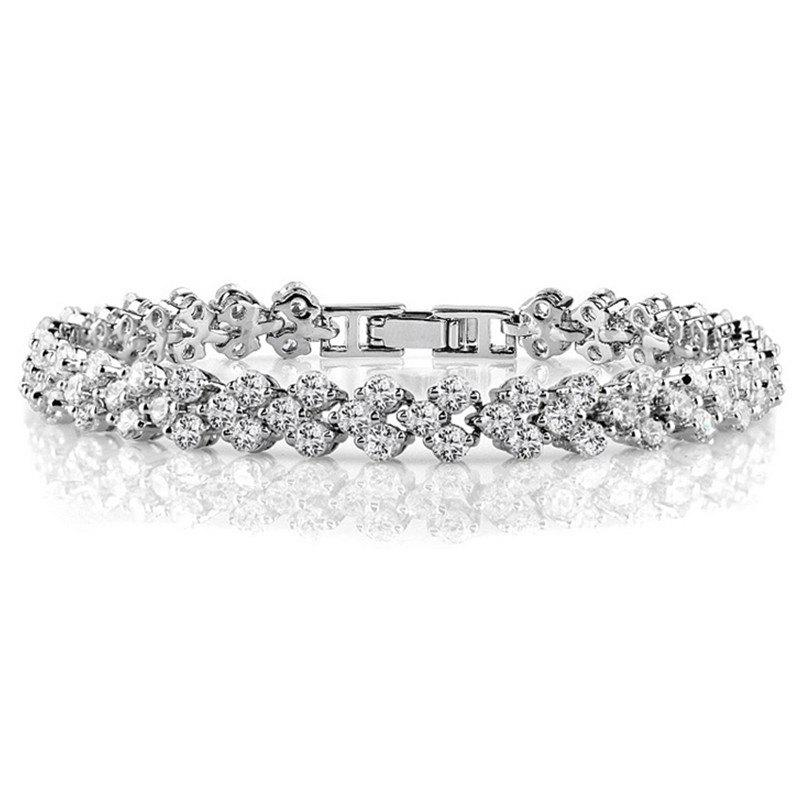 Women's Bracelet Formal Dresswear Zircon Copper Line Heart Jewelry - SILVER 16CM