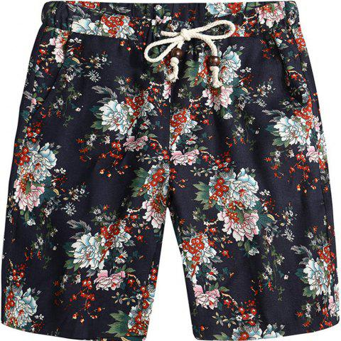 Men Beach Flower Printed Loose Shorts - multicolor B 3XL