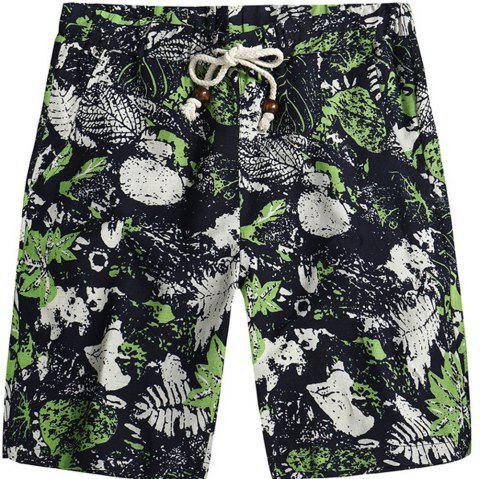 Men Beach Flower Printed Loose Shorts - multicolor C XL