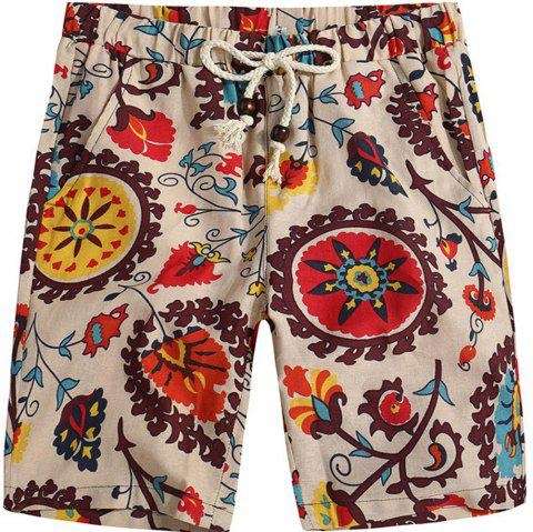 Men Beach Flower Printed Loose Shorts - multicolor F L