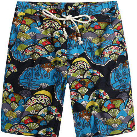 Men Beach Flower Printed Loose Shorts - multicolor G 4XL
