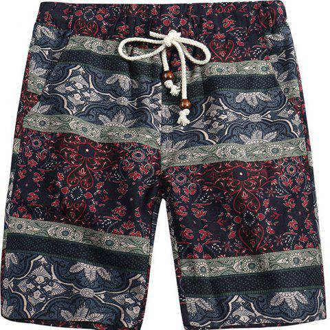 Men Beach Flower Printed Loose Shorts - multicolor H 2XL