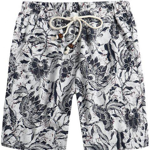 Men Beach Flower Printed Loose Shorts - multicolor E XL