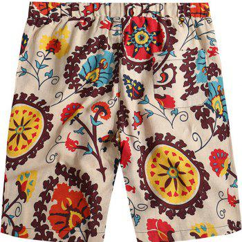 Beach Flower Printed Loose Shorts - multicolor F 30