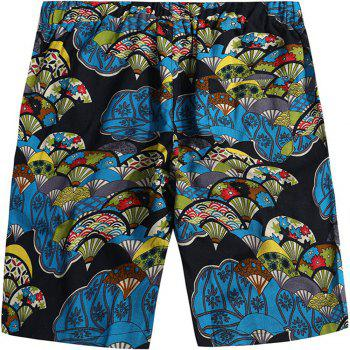 Beach Flower Printed Loose Shorts - multicolor G 30