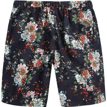 Men Beach Flower Printed Loose Shorts - multicolor B XL