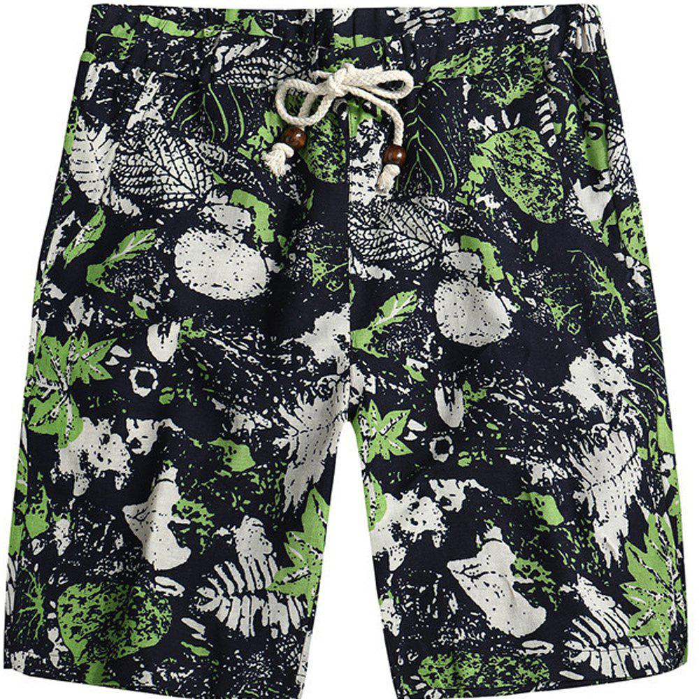 Men Beach Flower Printed Loose Shorts - multicolor C L