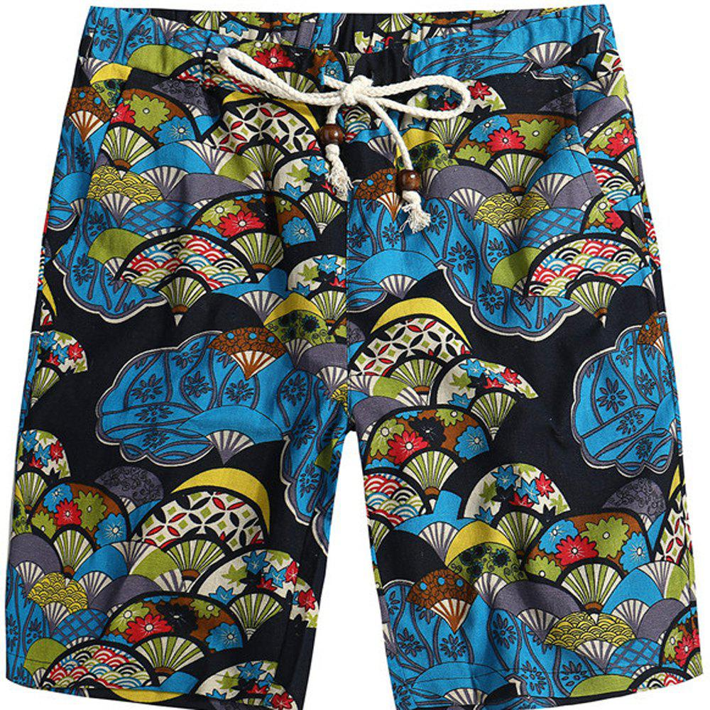 Men Beach Flower Printed Loose Shorts - multicolor G M