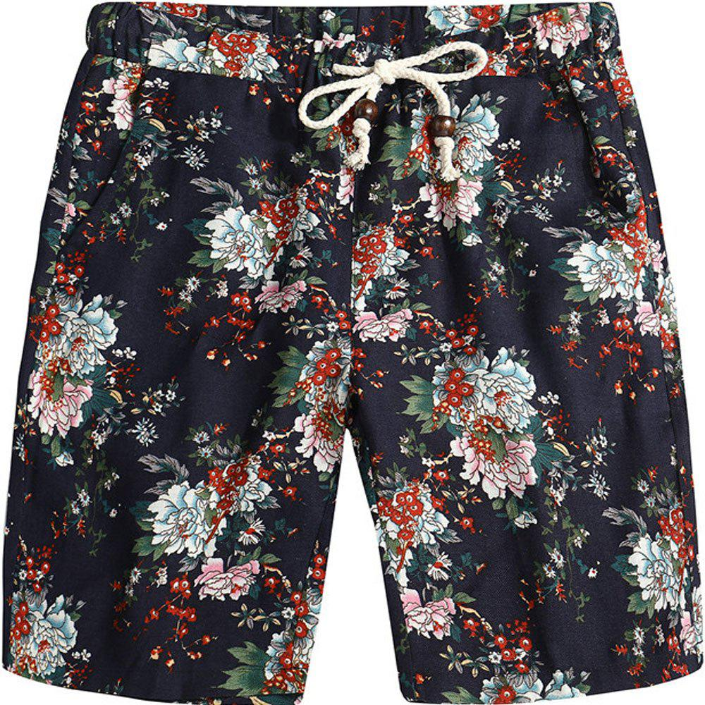 Men Beach Flower Printed Loose Shorts - multicolor B L