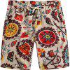 Beach Flower Printed Loose Shorts - multicolor E 32