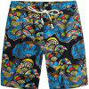 Beach Flower Printed Loose Shorts - multicolor B 32