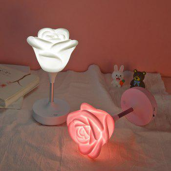 USB Charging Touch Rose Night Light - WHITE