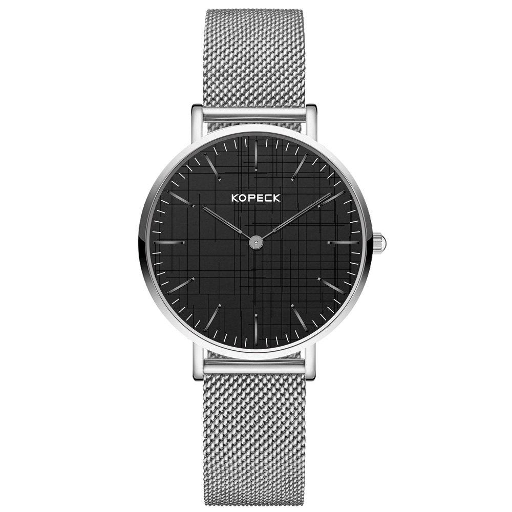 KOPECK 6003 Couples Quartz Analog Calendar Watch - SILVER MALE