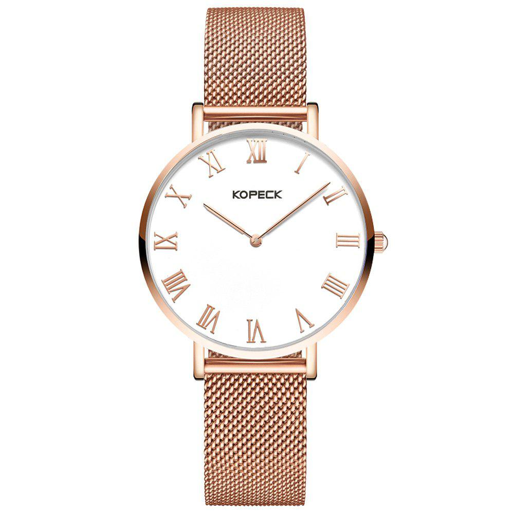 KOPECK 6012 Couples Quartz Analog Calendar Watch - ROSE GOLD FEMALE