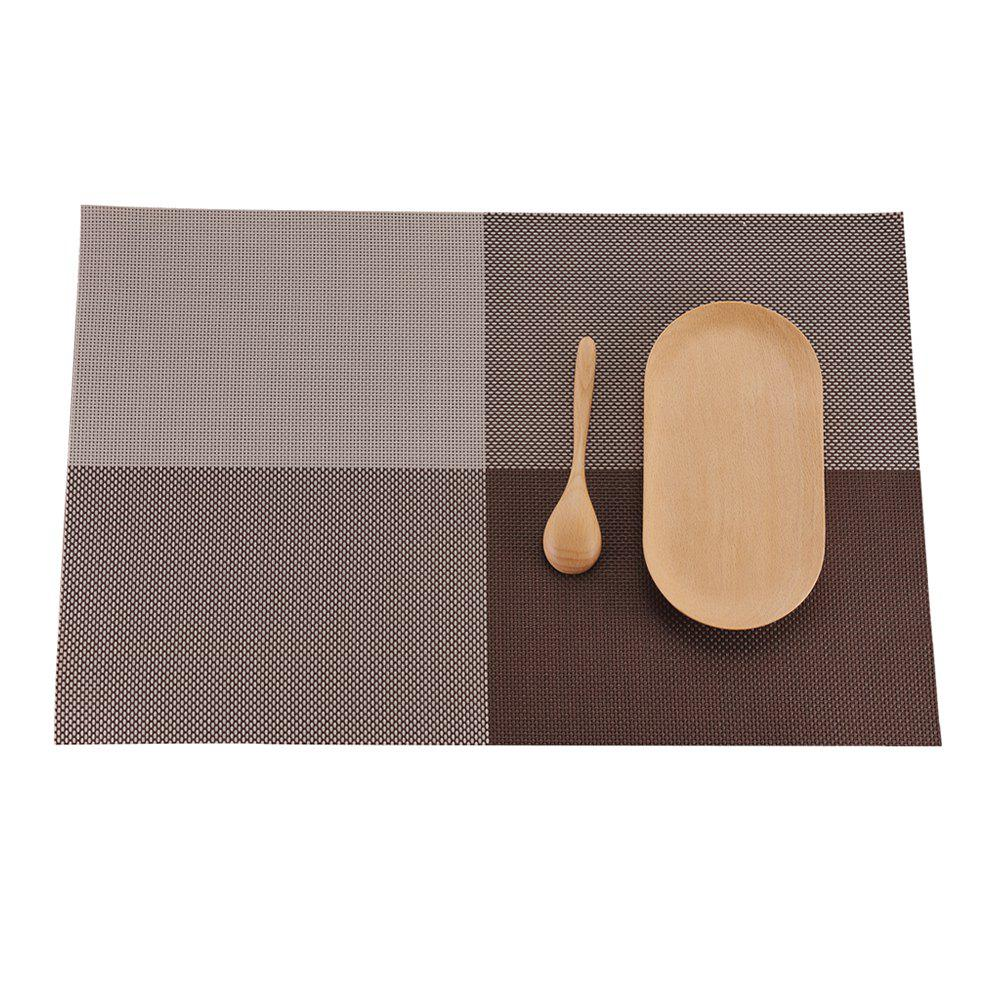 Heat Insulation Placemat PVC Table Water Washing Mat - COFFEE