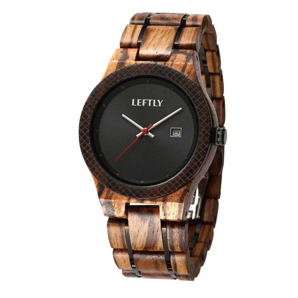 LEFTLY LYM002 Men Wooden Analog Quartz Movement Watch - CAMEL BROWN