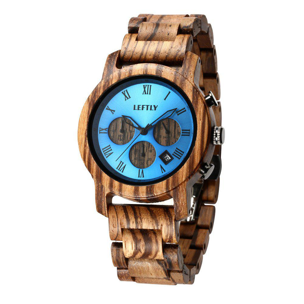 LEFTLY LYM004 Men Quartz Movement Chronograph Function Wooden Watch - CAMEL BROWN