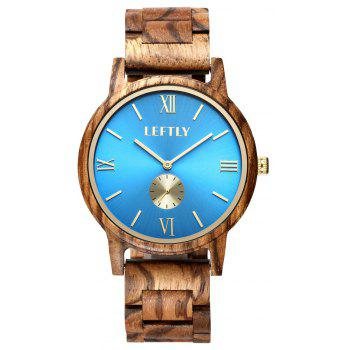 LEFTLY LYM008 Men Wooden Quartz Wrist Watch Miyota Movement - BLUE ORCHID