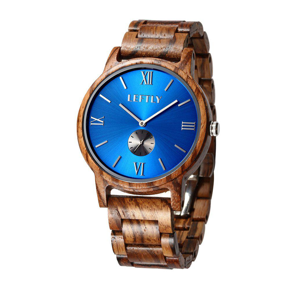 LEFTLY LYM008 Men Wooden Quartz Wrist Watch Miyota Movement - SAPPHIRE BLUE