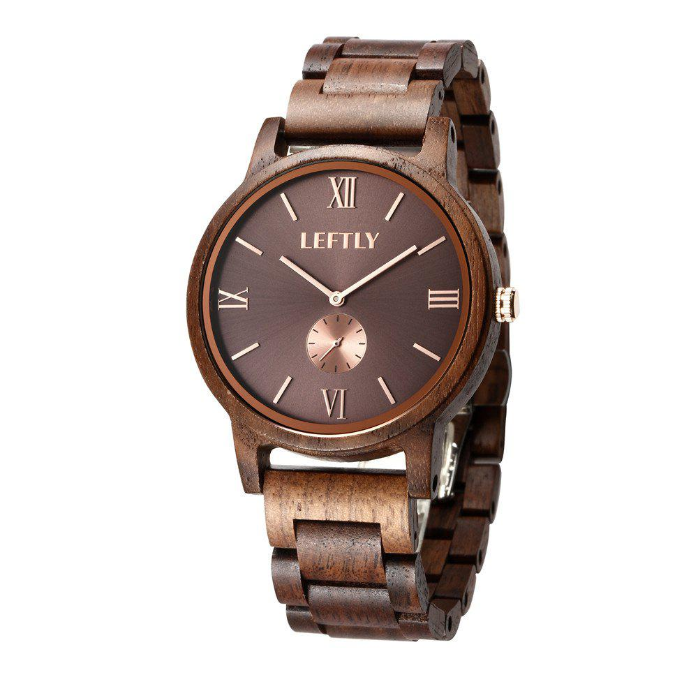 LEFTLY LYM008 Men Wooden Quartz Wrist Watch Miyota Movement bobo bird monkey watch wooden relojes quartz men watches casual wooden color leather strap watch wood male wristwatch for gift