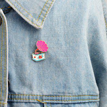 All-Match Creative Fashion Exquisite Cartoon Phonograph Coat Brooch - HOT PINK 2.6X2.1CM