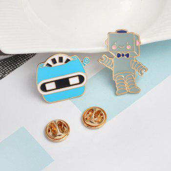 The New Cute Cartoon Robot Brooch All-Match Fashion Personality - BLUE 2.1X2.6CM