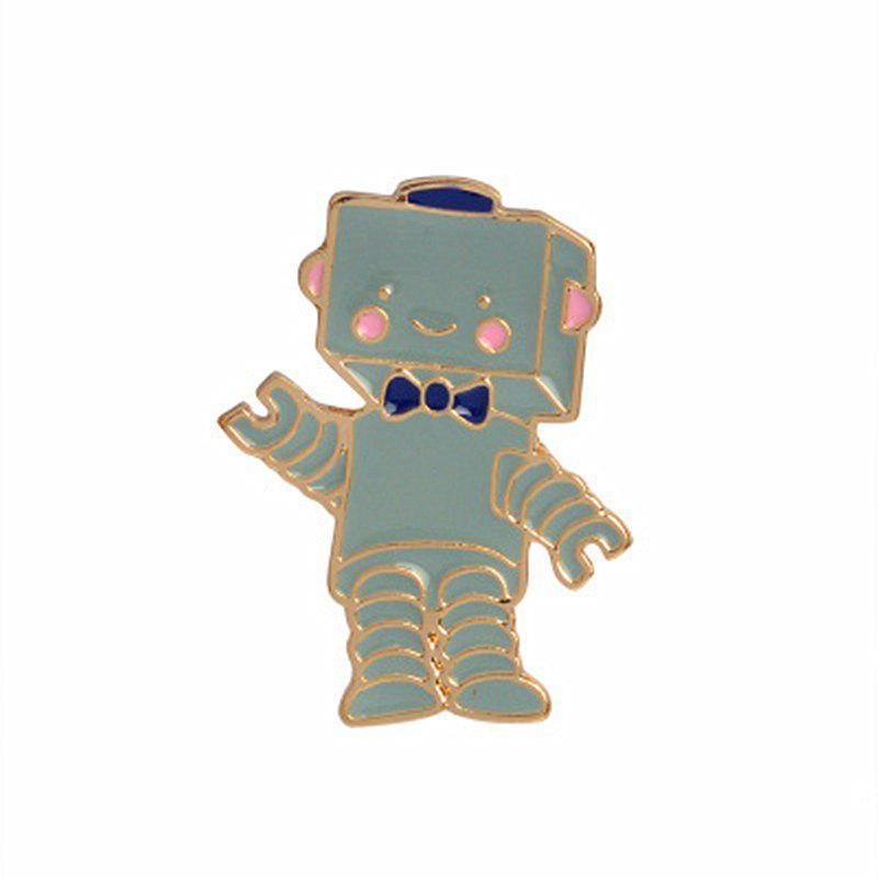 The New Cute Cartoon Robot Brooch All-Match Fashion Personality - GRAYISH TURQUOISE 3X2.2CM