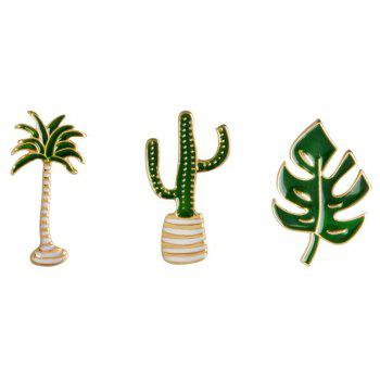 Fashion Personality Plant High-Grade Brooch Costumes Cactus Pin - MEDIUM FOREST GREEN 2.6X1.5CM